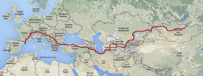 Mapa de papanatas team para llegar a mongolia en la mongoll rally